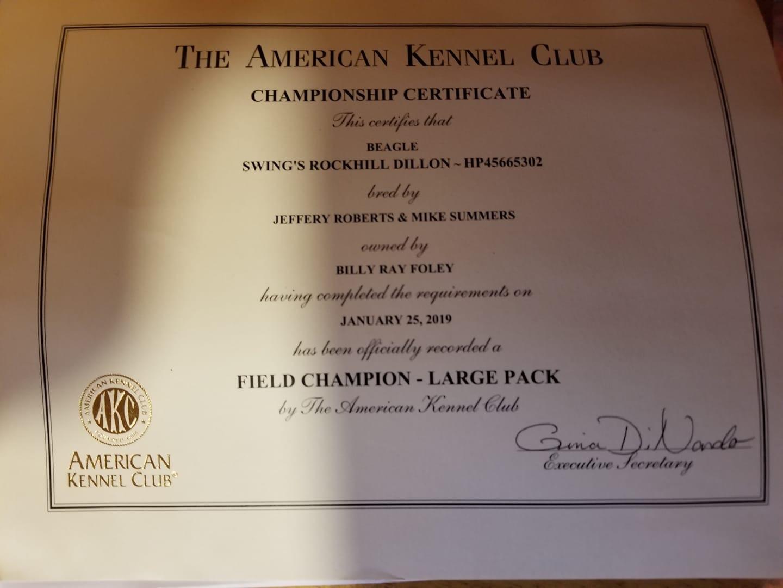 AKC FC Certificate